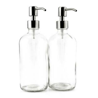 16-Ounce Clear Glass Boston Round Bottles w/Stainless Steel Pumps (2 Pack),...