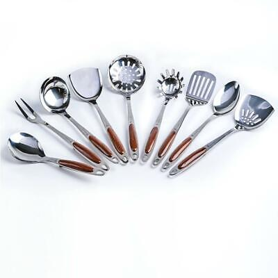 Professional Stainless Steel Kitchen Utensil Set - 9 Pieces - For Chefs and...
