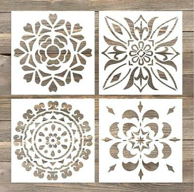 GSS Designs Pack of 4 Wall Stencils 6x6 Inch Laser Cutting Tiles Stencil...