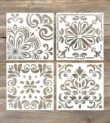 GSS Designs Pack of 4 Stencils Set (6x6 Inch) Laser Cut Painting Stencil...
