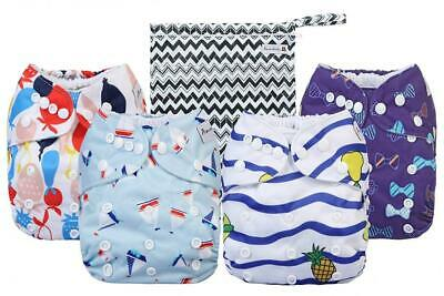 Cloth Diapers 4 Pack Adjustable Size Waterproof Washable Pocket Baby Diaper...