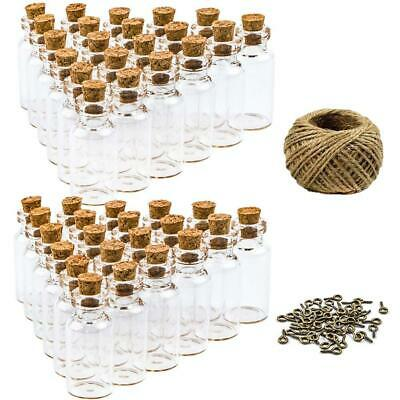 HEHALI 50pcs 5ml Mini Glass Jars Bottles with Cork Stoppers Wish Bottles,...