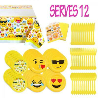 MelonBoat Emoji Party Supplies 81ct Birthday Decorations Kit Tablecloth