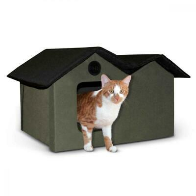 K&H Pet Products Outdoor Kitty House Extra-Wide Olive - Cat Shelter (Heated...