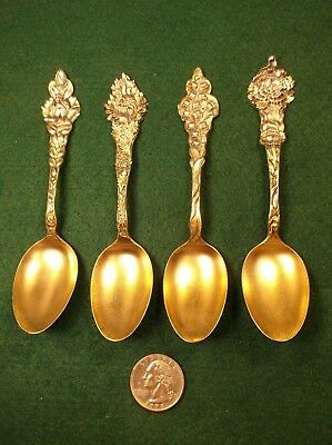 """#21, 4 Awesome Antique Sterling Silver """"Flatware Spoons Fancy Handles Gold Bowls"""