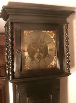 "Slim  Black Ebony   ""  Harmon ""  Brass Dial Grandfather / Longcase Clock"