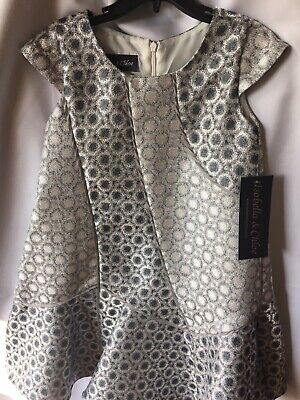 28fe372ca Isobella and Chloe Girls Silver Gray And Charcoal A-line Dress Size 5- New