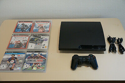 Sony PlayStation 3 PS3 slim 320 GB 10 Spiele Assassin's CreedGran Turismo FIFA