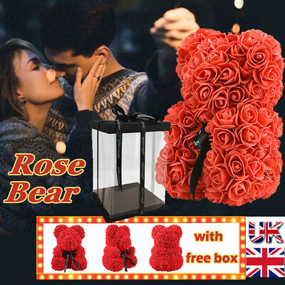 UK Stock Teddy Bear Lovely Big Red Rose Flower Bear Toys DIY Mothers Day Gifts