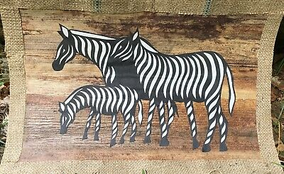 AFRICAN Banana Leaf Fiber Art PRINT Kenya Tribal Animals Safari BL14 Uber Kuchi®