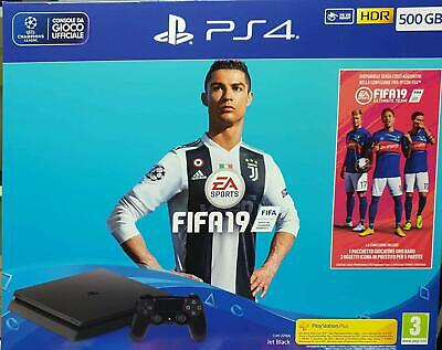 Nuova Ps4 Sony Playstation Console 500 Gb Chassis F Slim Black + Fifa 19 Eu