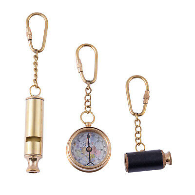 Handcrafted Set of 3 Goldtone Whistle Faux Leather Telescope Compass Keychains