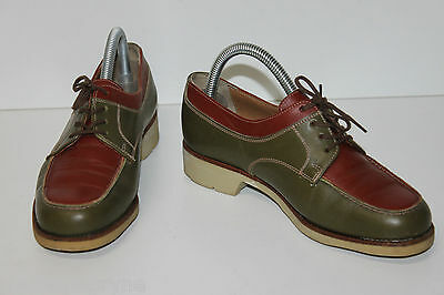 STÉPHANE GONTARD Derby shoes GOLF Vintage Leather Khaki and Brown T 3.5 UK/T 36