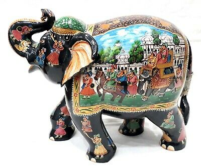 """Procession Painting on Elephant Statue - Wooden Sculpture-Handmade Figurine 10"""""""
