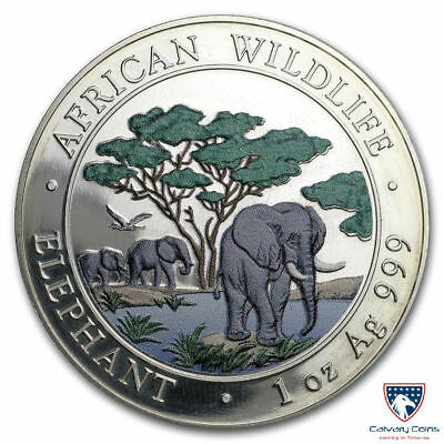 2012 1 oz Somalia Silver African Elephant Colorized BU (In Capsule)