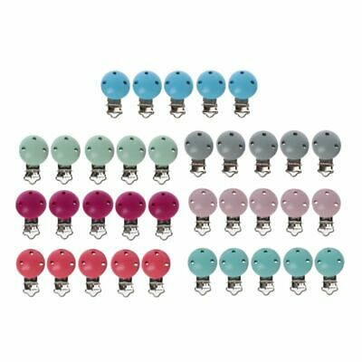 5PCS Metal Wooden Baby Pacifier Clips Solid Color Holders Infant Soother Clasps