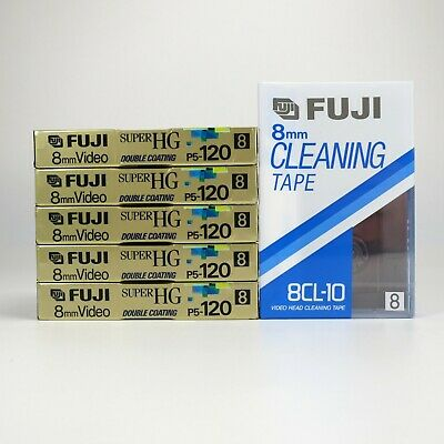 5 x Fuji P5-120 Super HG 8mm Video8 + Video Head Cleaning Tape - Factory Sealed