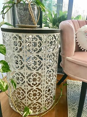 Large MOROCCAN ROUND TABLE Metal & Timber Side/Lamp/Coffee/Bedside/Accent/Drum