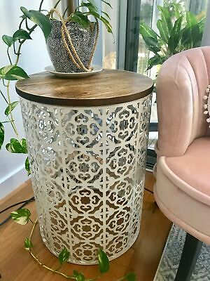 Small MOROCCAN DRUM TABLE Metal & Timber Round Side/Lamp/Coffee/Bedside/Accent