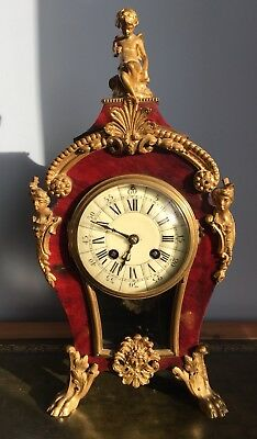 Antique 19th Century French Boulle Style Bronze Mantle Clock