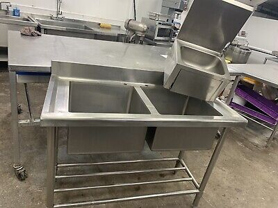 commercial stainless steel double bowl sink & stainless steel knee operated sink