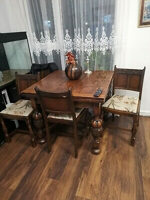 1920s antique vintage draw leaf carved extandable oak dining table