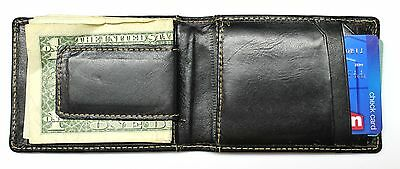 Front Pocket Wallet with Magnetic Money Clip - Black Leather