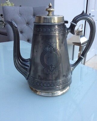 Antique Pewter Coffee Pot Lighthouse Shape Elegant With Brass Detail Engraved