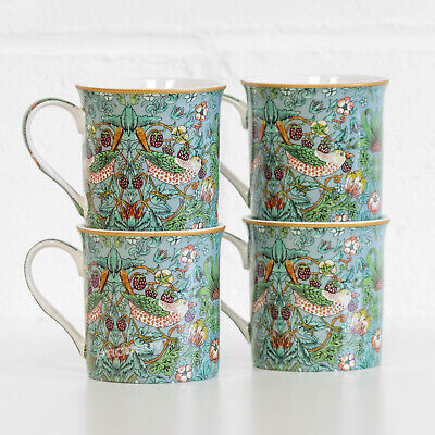 Set of 4 William Morris Strawberry Thief 275ml Fine China Mugs Cups Tea Coffee