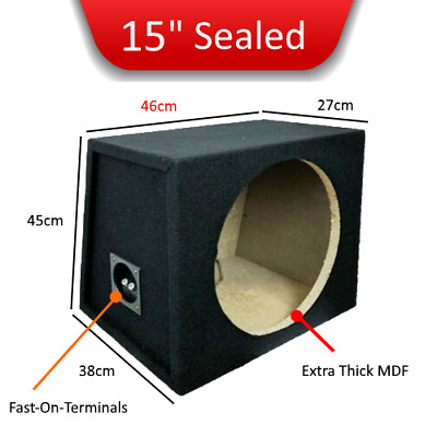 """15"""" Inch 38cm Single Sealed Black Carpeted Car Subwoofer box for All subs"""