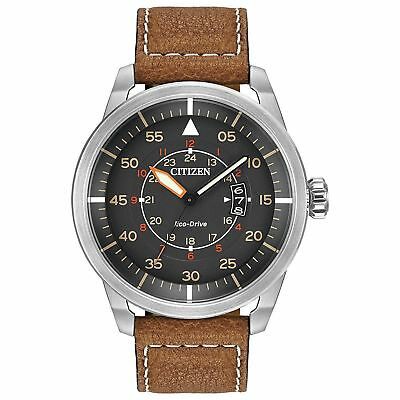 Citizen Men's Eco-Drive Stainless Steel Watch Brown Leather Band AW1361-10H NEW
