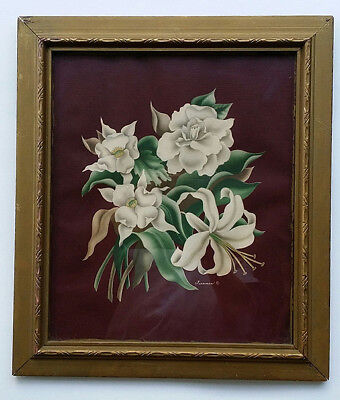 Turner manufacture CO. Texture ART PRINT of flowers n vintage FRAME Classic look