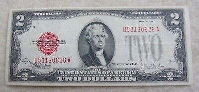 1928 F $2 Two Dollar Bill United States Legal Tender Red Seal Note