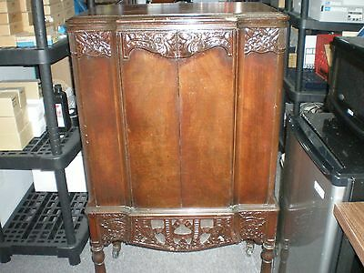 1930's Stromber Carlson Radio Cabinet empty with Metal and glass bezel