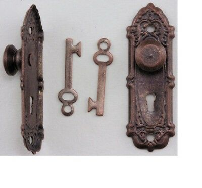 1Pr Dollhouse Miniatures 1:12 Scale French Door Pewter #CLA05581 Handle Lever