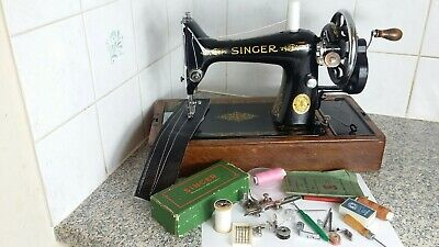 Vintage Hand Crank Singer Sewing Machine 99K, serviced by expert