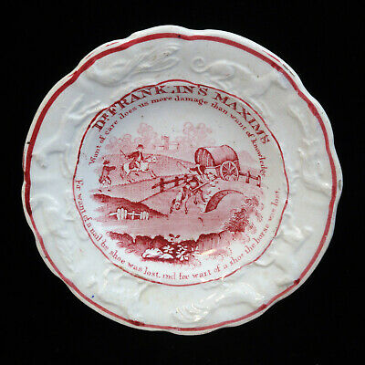 Staffordshire Franklins Maxim Plate WANT OF CARE HORSE LOST Animal Border 1840