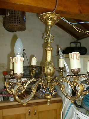 Grand Lustre  5 Branches En Bronze Tres Ancien