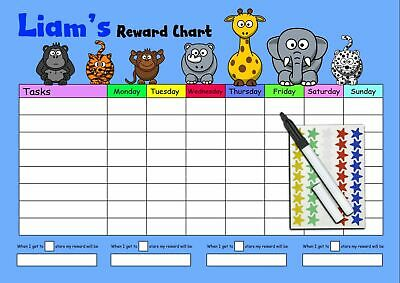 Personalised Reward Chart - Kids Childrens Sticker Star Chart - Stickers & Pen