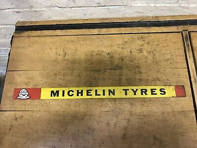 Vintage Michelin Tyres Tin Enamel Sign Barn Find Rare Man Cave Shop Display