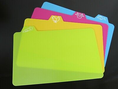 4 Flexible Chopping Cutting Boards Plastic Slicing Mats Colours Non-Slip Soft