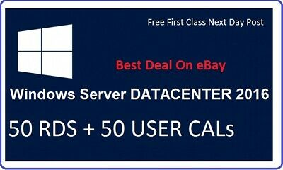 Microsoft Windows Server 2016 DataCenter RDS 50 USER CALs + 50 USER CALs Cards
