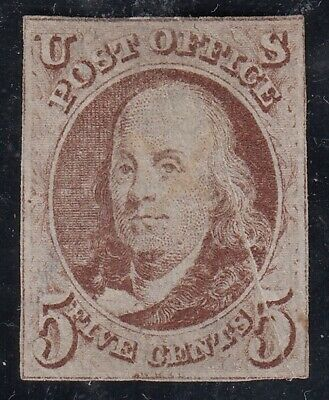 TDStamps: US Stamps Scott#1 5c Used Tiny Thin, Folded Before Printing CV$400.00