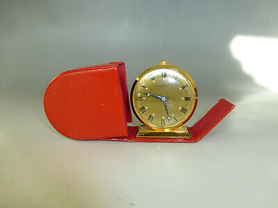 Vintage Swiss Wind Up Travel Alarm 8 Day 15 Jewel Clock With Red Leather Case