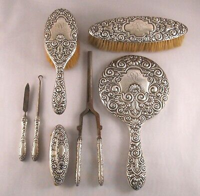 Antique Whiting Sterling Silver 7 Piece Vanity Dresser Set #4831 Late 19th C.