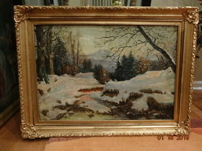 Antique oil painting Winter by artist Carl Hill