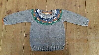 Baby Boden boys 12-18 month fox knitted jumper