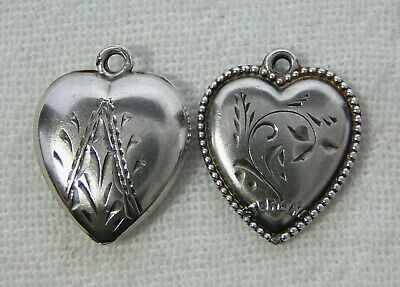 Lot of Two Engraved Sterling Silver Puffy Heart Charms Vintage