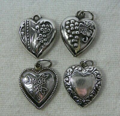 Lot of Four Sterling Silver Puffy Heart Charms Vintage Grapes Flowers Floral