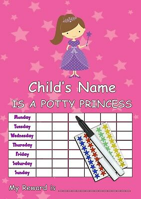 GIRLS POTTY PRINCESS Toilet Training Re-usable Reward Chart , Stickers & Pen